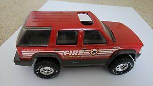 "Vintage 1996 Nylint Fire Truck Tahoe Chevrolet Pressed Steel 11"" Car Rough"
