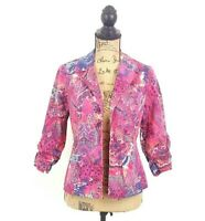 Chicos Womens sz 0 Pink Paisley Open Front 3/4 Ruched Sleeve Career Blazer