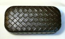 Bottega Veneta Eyeglass/Sunglasses Dark Brown Woven Leather CASE CLOTH POUCH