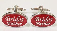 NOVELTY SILVER RED BRIDES FATHER WEDDING MENS DRESS CUFF LINKS CUFFLINKS (#1017)