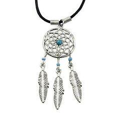 Dream Catcher Weaver Feather Silver Tone Blue Bead Pendant Dreamcatcher Necklace