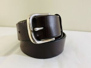 Fossil Belt Size 34 Mens Brown Leather Silver Metal Buckle