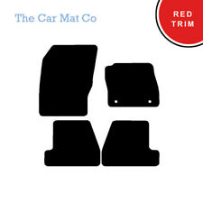 Fully Tailored Black Carpet Car Mats & Red Trim for Ford Focus (2 Clips) 2011-15