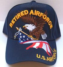 U.S.AIR FORCE RETIRED Cap/Hat w/Eagle & Flag Blue Military *FREE SHIPPING*