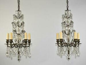 Pair Antique Four Tier Crystal, Blown Glass, & Brass Chandeliers