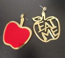 "CG2778...ACRYLIC EARRINGS - AN APPLE & ""EAT ME"" - FREE UK P&P"