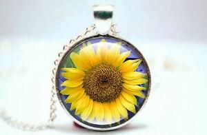 Sunflower - Silver Tone Photo Glass Dome Necklace Pendant