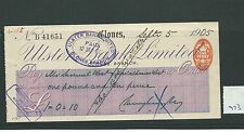 wbc. - CHEQUE - CH973 - USED -1905/08 - ULSTER BANK, CLONES