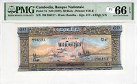 Cambodia 1972 50 Riels PMG Certified Banknote UNC 66 EPQ Gem TDLR Buddha 7d