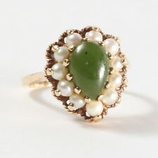 10k Vintage Jade And Pearl Ring Yellow Gold Size 6 ~ Great Estate Find!