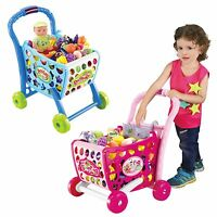 Kids Shopping Trolley Cart Creative Role Play Plastic Fruit Food Fun Xmas Gift