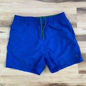 Polo Ralph Lauren Mens Blue Swim Trunks Lined Drawstring Size Large