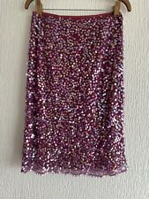 PURPLE SEQUIN SKIRT JIGSAW 10 SPARKLY PRETTY TOWIE CELEB GLAM SUMMER HOLIDAY