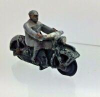 37a Vintage Dinky Toys Civilian Motorcycle Grey Rider Brown Helmet & Gloves VGC