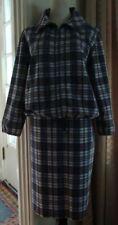 Vtg 60s Suit Kelita Navy Plaid Cotton Zip Jacket & Skirt M Medium med
