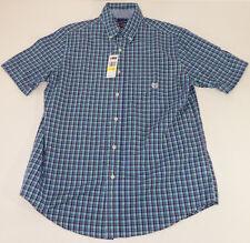 Shirt Chaps mens button down  Blue Short Sleeve Medium M Top