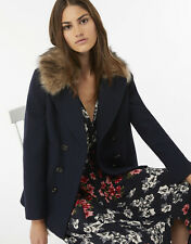 Monsoon Megan Military Faux Fur Navy Wool Classic Double Breasted Pea Coat 8 36
