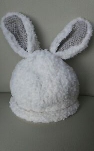 Super soft cream bunny hat