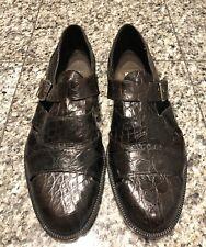BRAGANO Brown Crocodile Men's Buckle Sandals Shoes