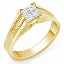 0.40 Ct Princess Diamond G VS1 Solitaire Engagement Wedding Ring 14k Gold Yellow