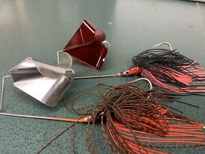 Quad Wing Buzz Baits, 1/2 Ounce.  Black/red And Brown Craw Topwater Bass Pike