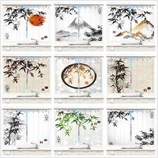 Japan Mount Bamboo Flower Asian Art Kitchen Curtains Window Drapes Set 55x39inch