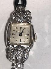 Antique Or Vintage 14ct Gold Platinum With Diamond Glycine Watch Original Strap
