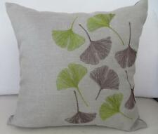 Grey-Beige & Green Embroidered Small Fan Leaves Linen Look Cushion Cover 45cm