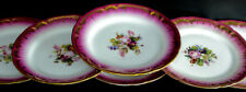 6 belles assiettes Peintes Bouquet de Roses PORCELAINE DE PARIS Or Chabby chic