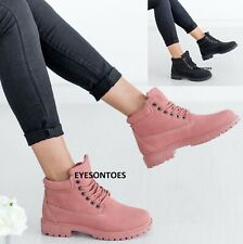 WOMENS LACE UP ANKLE GRIP SOLE WINTER LADIES WARM COMBAT WALKING TRAINERS BOOTS