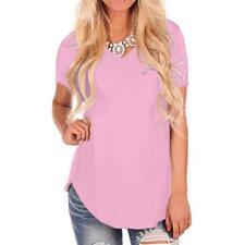 Women's Short Sleeve V-Neck Irregular Hem Loose Casual Tee T-Shirt Tunic Tops