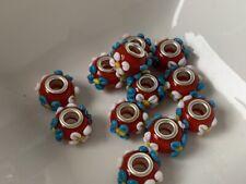 European Beads rot gemustert Anhänger Glas Lampwork 10x15 mm silber 12 Stück B54