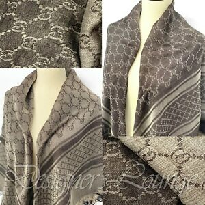 "NWT GUCCI Beige Survie GG Monogram Wool And Silk Blend Shawl Scarf 55"" Authentic"