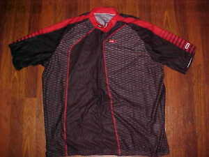 Louis Garneau Three Quarter Zipper Men Black Red Bicycle Cycling Jersey