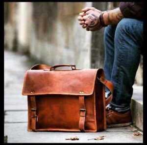 Men's Genuine Vintage Satchel Women Bag Leather Messenger Laptop Briefcase