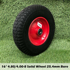 "16"" 4.80/4.00-8 Solid WheelBarrow Wheel Puncture Proof Flat Free Wheel 1"" Bore"