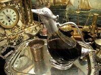 Duck Decanter Silver Plated Glass Water Wine Jug Carafe New Gift Vintage