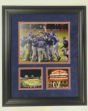CUBS WIN 2016 WORLD SERIES 8X10 PHOTO & (2) 4 X 4 FRAMED TO 18 1/2 X 20 1/2