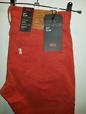 Encantador suave rojo Jeans BNWT Levi's 511-Slim Bajo Cónicos W32 L34 RRP £ 105!