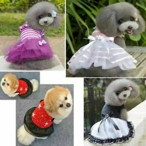 UK! Dogs Cats Princess Dress Cloth Party Cute Lace Puppy Skirts Costume Apparel