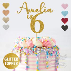 Personalised Custom Glitter Cake Topper, is Six Sixth 6th Birthday Girls Boys