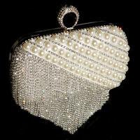 Elegante Glamour Abendtasche Clutch Umhängetasche Kette Strass Perlen Hochzeit