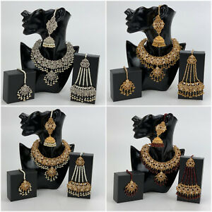 Indian Pakistani Bridal Jewellery Necklace Earrings Maang Tikka Jhoomar