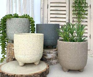 Ceramic Plant Pot Rustic Round Indoor Flower Herb Garden Planter With Feet H14cm