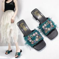 Womens Rhinestone Decor Summer Slipper Sandals Fashion Shiny Sexy Party Shoes Sz