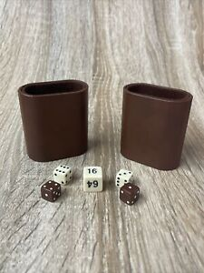 Vintage Backgammon Pair of Medium Brown Cups Shakers With Dice - EUC