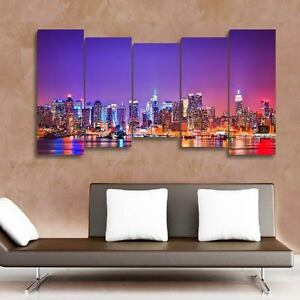 150x80cm- Kit 5 PAINTINGS PRINTED PAINTING FABRIC DECO - NEW YORK-NY-02 -5T02