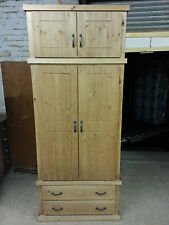 OLD MILL PINE FURNITURE VERMONT RANGE GENTS 2 DRAWER WARDROBE WITH TOP BOX