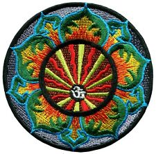 Hindu aum om infinity lotus hindi yoga peace trance applique iron-on patch G-62