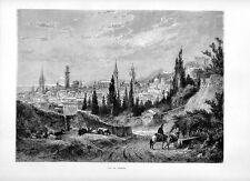 Stampa antica VERONA veduta panoramica 1877 Old print